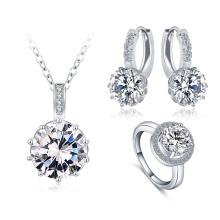 Ensembles de bijoux ronds en soie de mariage Zircon en gros (CST0034-B)