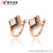 Popular moda luxo CZ banhado a ouro jóias quadrada de quatro pontos estrelas Hoop Earring - 28747