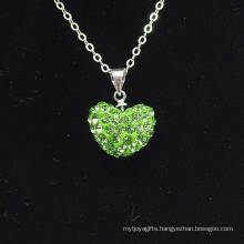 Wholesale Heart Shape New Arrival Light Green Crystal Clay Shamballa With Silver Chains Necklace