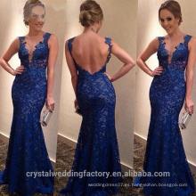Alibaba Elegante largo nuevo diseñador de la manga del casquillo de color azul real de encaje sirena vestidos de noche o vestido de dama de honor LE35