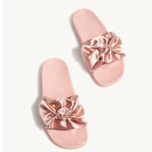 factory price china pink bowtie soft rubber sole slippers