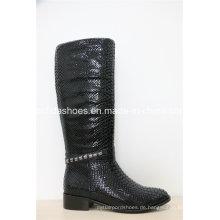 Neue europäische Mode Leder Winter Gummi Frauen Stiefel
