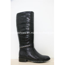 New European Fashion Leather Winter Rubber Women Boots