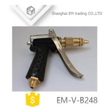 EM-V-B248 Boquilla de manguera de jardín de latón ajustable Pistola de rocío de agua de metal de alta presión para lavado de coche y jardín