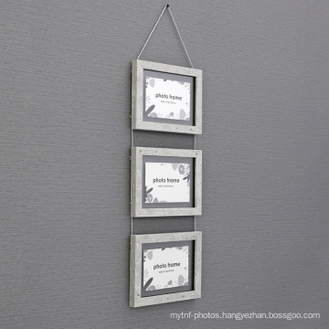 Natural MDF Moulding  3 Pictures Floating Wooden Wall Hanging Double Sided Glass Photo picture Frame