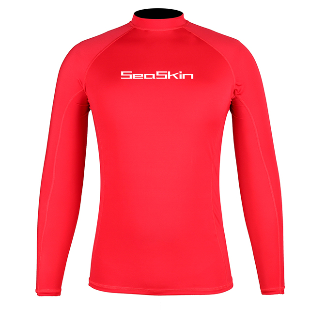 Seaskin Mens Long Sleeve Rashguard Red