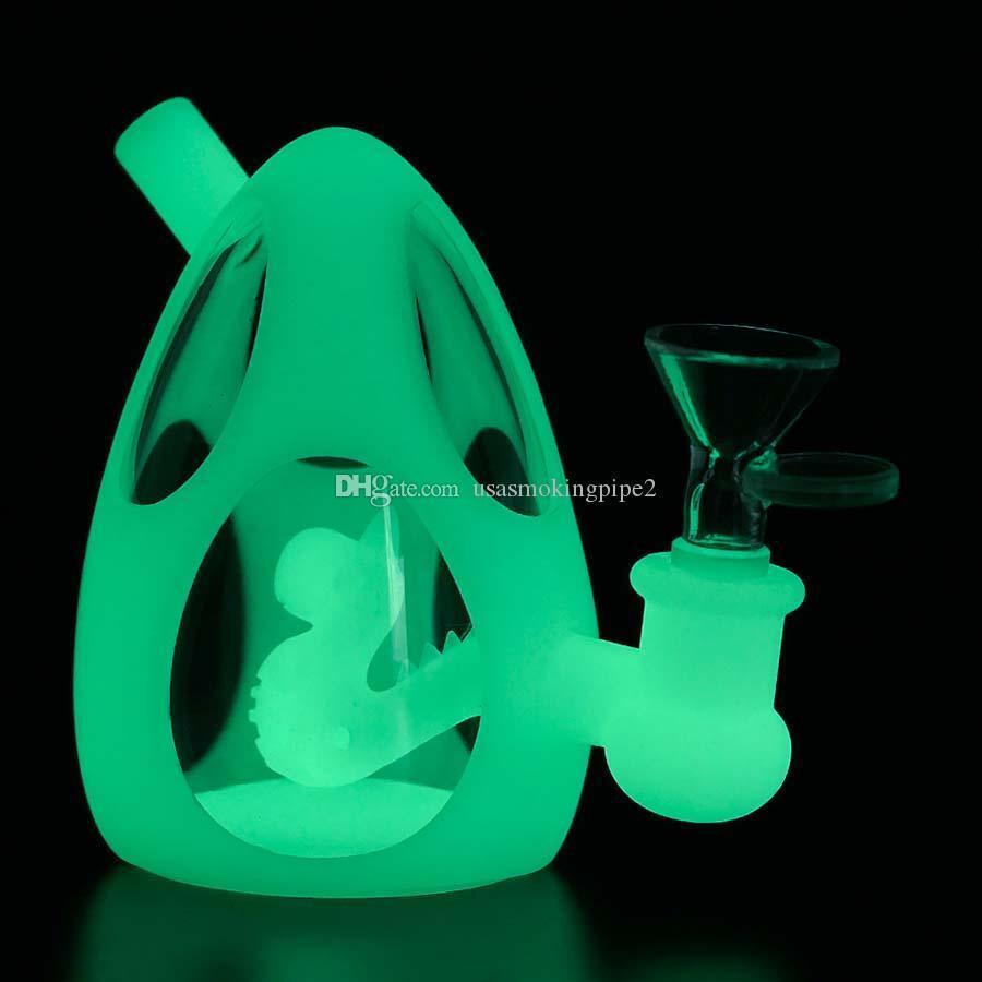 Dab rigs dinosaur egg water pipe glass bong hookah silicone bongs use for smoking MOQ=