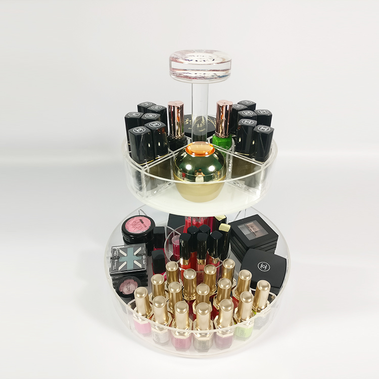 Round Table Clear Acrylic Makeup Organizer