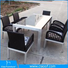 Vente chaude tous les temps extérieure verre 6 places ensemble table à manger de luxe