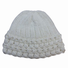 Senhora moda lã acrílico de malha inverno chapéu gorro quente (yky3105)