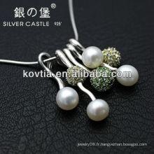 Nouveau collier pendentif en perle à la mode en argent sterling 925