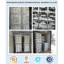 Proveedor profesional de Lingote de aluminio 99.7% min --- A7 y A8
