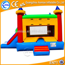 High quality 0.55mm PVC inflatable castle with slide, inflatable combo/bouncer with slide