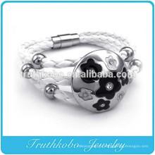 Bracelet en cuir blanc fait main avec breloque en acier inoxydable