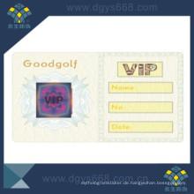 Sicherheit Hot Stamping Hologramm auf VIP Card