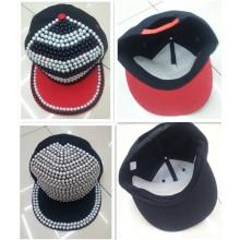 Diseño popular de diamantes de imitación perla studed remache plano snapback ala gorra sombrero
