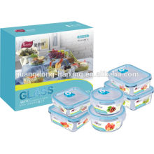 Set of 6 glass vacuum food container