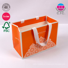 высокое качество роскошный оранжевый бумажная хозяйственная сумка с ручкой
