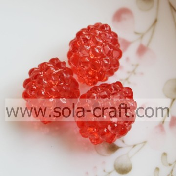 High Quality Red Color Clear Acrylic Berry Beads With A Hole 12*14MM