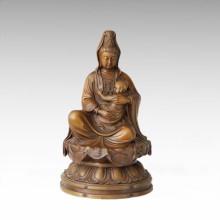 Myth Bronze Sculpture Avalokitesvara Decor Brass Statue Buddha Tpfx-B143 (J)