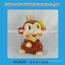 Lovely macaco em forma de suporte de palito de cerâmica para atacado