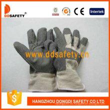 Guantes de PVC gris con espalda de algodón blanco Dgp106