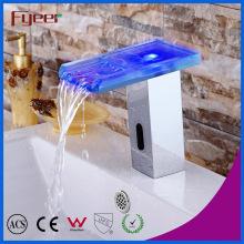 Fyeer Glass Spout Waterfall Automatic Sensor Faucet com luz LED