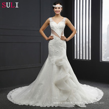 Q004 Real Photo Lace V-Neck Backless Mermaid Wedding Dresses 2016
