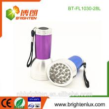 280nm-390nm Détecteur de parasites gravé personnalisé à la lumière violet multicolore 28 Lampe torche LED ultraviolette led pour inspection des fuites