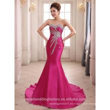 Alibaba Elegante largo nuevo diseñador color de rosa de color rojo gasa sirena vestidos de noche o vestido de dama de honor con grano pesado LE28