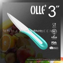 """3"""" White Blade Ceramic Paring Knife U typle Handle Chongqing Olle"""