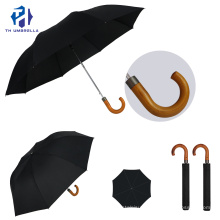 2 Folding Auto Open Promotion Umbrella with Wooden Crook Handle/Printed Umbrella with Customized Logo