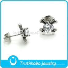 TKB-E0071 Joyas de plata al por mayor Hermosos aretes de piedra blanca de circonio cúbico