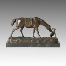 Animal Bronze Sculpture Horse Puppy Deco Brass Statue Tpal-147