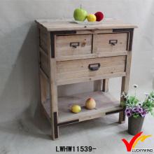 Rough Handmade Mesa de madeira rústica com gavetas e prateleira