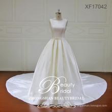 Última moda ver a través de la parte superior de calidad superior mikado vestidos de novia con tren largo