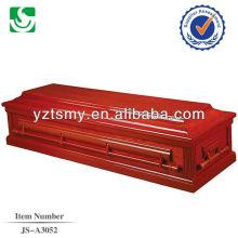 Punho de madeira clássico americano laca vermelha forro do caixão