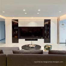 Mueble de televisión en blanco y negro