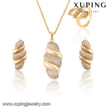 63824-Xuping caliente popular plateado oro artificial de 3 piezas para el partido