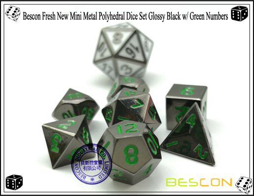 Bescon Fresh New Mini Metal Polyhedral Dice Set Glossy Black with Green Numbers-5