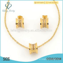Coreano designer jóias de ouro amarelo tradicional define para o casamento