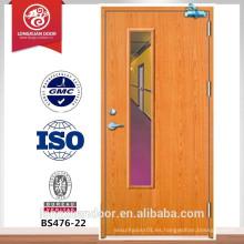 Puerta cortafuegos de panel de visión, puerta cortafuego de madera, puerta entance