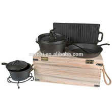 Outdoor Gusseisen Kochgeschirr Set mit Holzkiste
