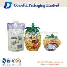 Personalizado especial forma saco de embalagem de líquidos saco de plástico sacos de comida bico