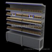 Venta al por menor bloqueable del tabaco Puesto de suelo Iluminación Publicidad Cigarrillos del metal Estantes de la exhibición