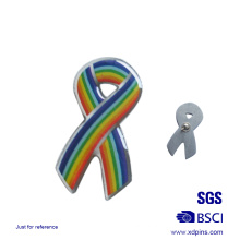 Wholesale Metal Cheap Rainbow Ribbon Lapel Pin for Beneficence (xd-0901)