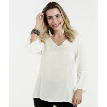 Neueste Design Damen Long Flare Sleeve Shirts
