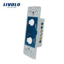 Livraison Gratuite Livolo US Power Interrupteur Tactile Murale Électrique Sans Verre 110 ~ 220 V 2 gangs 1 voie avec indicateur LED VL-C502
