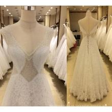 Vestidos de boda de la tapa del piso de la tapa europea