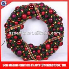 Couronne à boules de 80 cm Ornement de porte avant Lampe de décoration de Noël